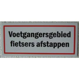 sticker voetgangersgebied fietsers afstappen 12,5 cm.