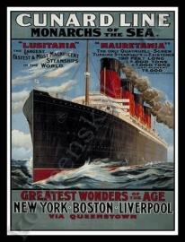 metalen wandplaat cunard line, lusitania 30-40 cm