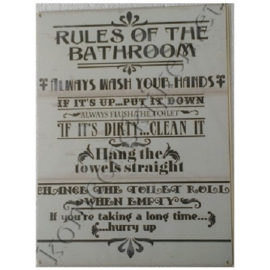 metalen wandbord rules of the bathroom /toilet 30-40 cm
