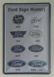 metalen reclamebord Ford Sign History 20x30 cm