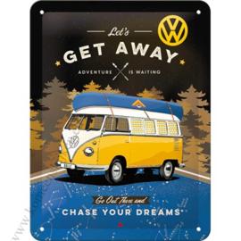 metalen reclameord Volkswagen camper, let's get away 15x20 cm