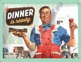 metalen tekstbord diner is ready 15-20 cm