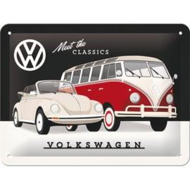 blikken muurbord VW bus en kever 15x20 cm