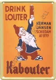metalen reclamebord drink louter Kabouter 20-30 cm