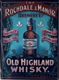 metalen reclamebord Old Highland Whisky 30x40 cm.