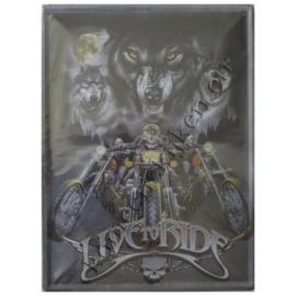 metalen wandbord live to ride 30-40 cm