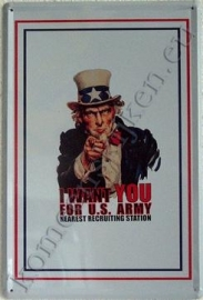 metalen bord I want you for U.S. army 20-30 cm