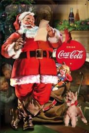 blikken muurbord Coca Cola kerstman 20x30 cm