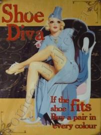 metalen reclamebord shoe diva 30-40 cm