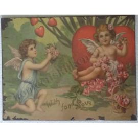 muurplaat 2 engeltjes met hart 35 - 27 cm