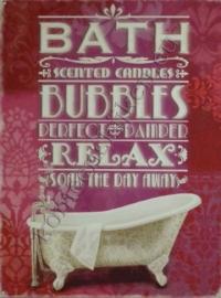 metalen wandbord bath bubbles relax 30-40 cm