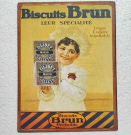 metalen wandplaat biscuits Brun 25x33 cm