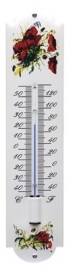 emaille thermometer bloemen rood