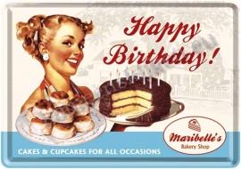 metalen ansichtkaart happy birthday / cake 10-14 cm