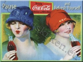 metalen ansichtkaart Coca Cola  pause and refresh yourself 15-21 cm