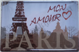 metalen reclamebord mon amour paris 20-30 cm