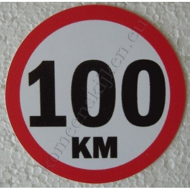 sticker 100 km 7,5 cm.