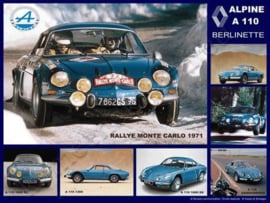 blikken reclamebord Renault Alpine A 110 Berlinette collage 30-40 cm