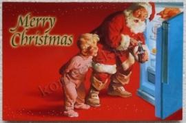 papieren kerstkaart coca cola kerstman koelkast