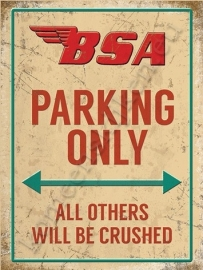 metal wall sign bsa parking only 30-40 cm