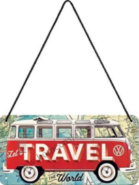 hanging sign / deurbordje VW bus let's travel 10 x 20 cm