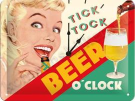 metalen reclamebord Tick tock beer o' clock 15-20 CM