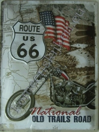 metalen wandbord route 66 chopper 30-40 cm