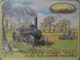 metalen reclameplaat Fowler stoomtractor 30-40 cm