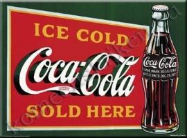 metalen ansichtkaart Coca Cola sold here 15-21 cm
