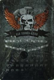 eeuwigdurende kalender old school biker 20-30 cm.