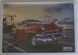 metalen reclamebord cuba collector red car 15-20 cm