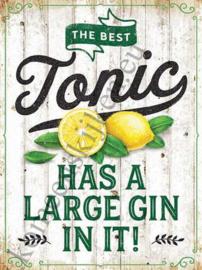 blikken wandbord The best gin 30x40 cm