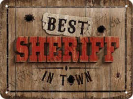 metalen wandbord Best sheriff in town 15x20 cm