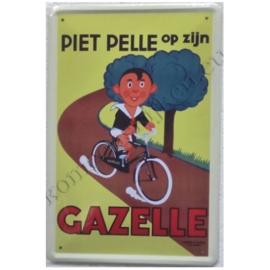 blikken reclamebord piet pelle op zijn gazelle 20-30 cm