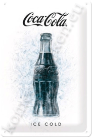 metalen wandbord coca cola ice white 20-30 cm
