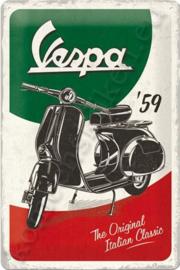 metalen reclamebord  Vespa, The Italian Classic 20-30 cm