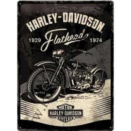 metalen wandplaat Harley-Davidson Flathead 30x40 cm