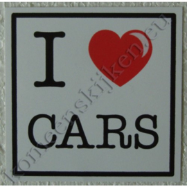 sticker I love cars 10,5 cm.