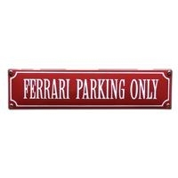 emaille straatnaambord ferrari parking only / rood-wit