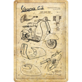 metalen wandbord Vespa GS sketches 20x30 cm