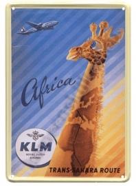 metalen ansichtkaart KLM giraffe 10-14 cm