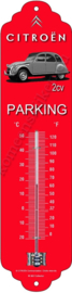 Metalen thermometer citroen 2cv/eend parking rood