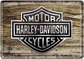 metalen ansichtkaart harley davidson hout 10-14 cm