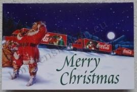 papieren wenskaart coca cola kerstman met vrachtwagen