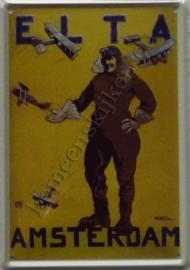 metalen ansichtkaart ELTA Amsterdam 10-14 cm