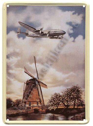metalen ansichtkaart KLM Constalation / molen 10-14 cm