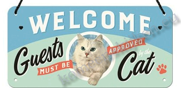 hanging sign welcome cat 10x20 cm