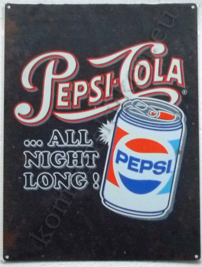 metalen wandplaat pepsi cola blikje all night long! 30-40 cm
