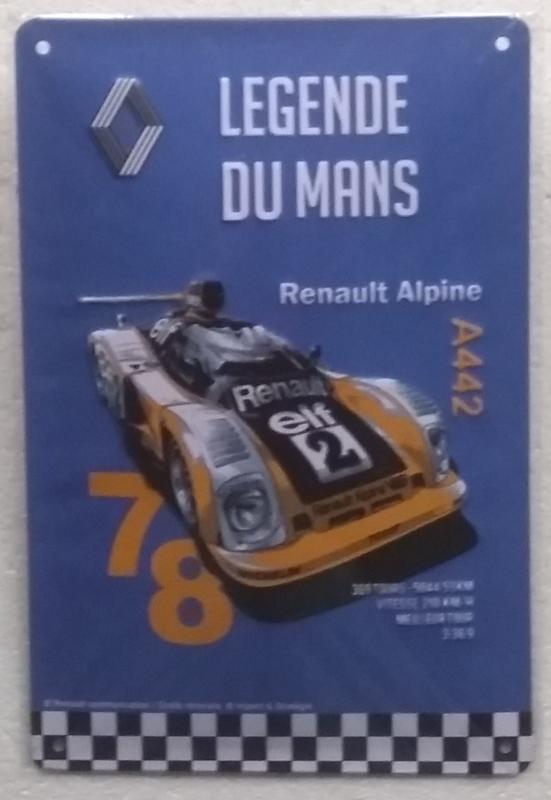 blikken wandplaat Renault Alpine du Mans 20x30 cm