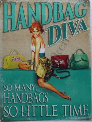 metalen bord handbag diva, so many handbags 30-40 cm
